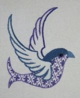 Blue Jay Bird crewel work embroidery kit.