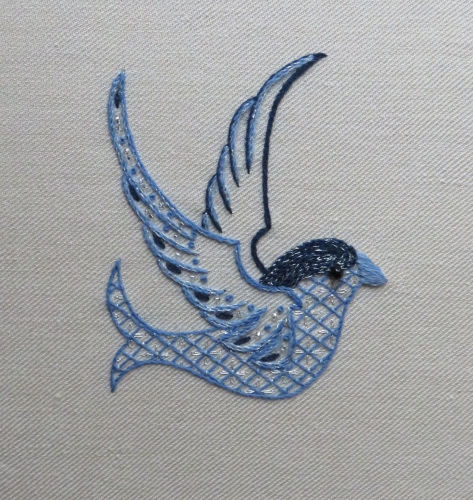 Sparkly Bluebird embroidery kit.