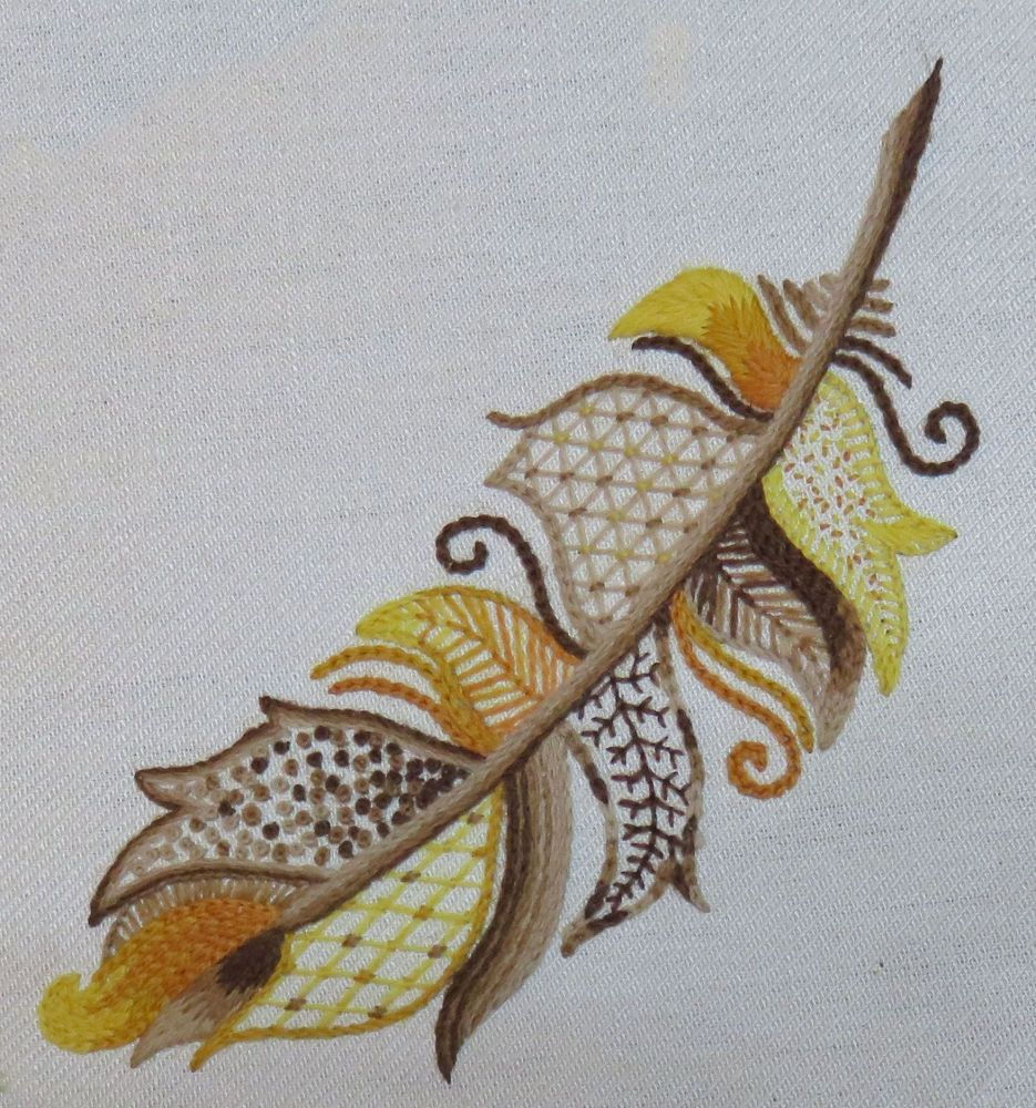 Golden Eagle Feather crewel work embroidery kit.