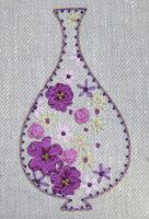 Indian Vase - embroidery kit in pink