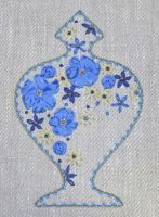 Indian Vase - embroidery kit in blue