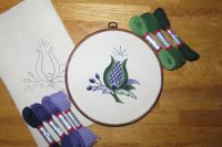 Thistle crewel work embroidery kit.