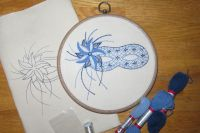Floral Mask in blue crewel work embroidery kit.