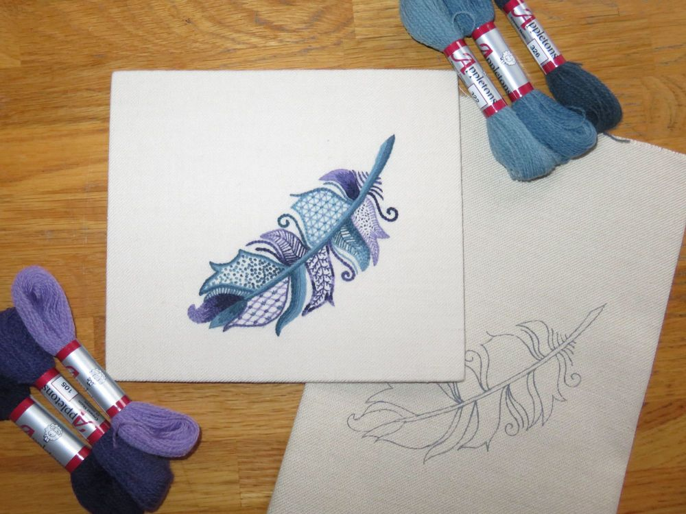 Blue Jay Feather crewel work embroidery kit.
