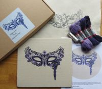 Filigree Lace Mask in purple crewel work embroidery kit.