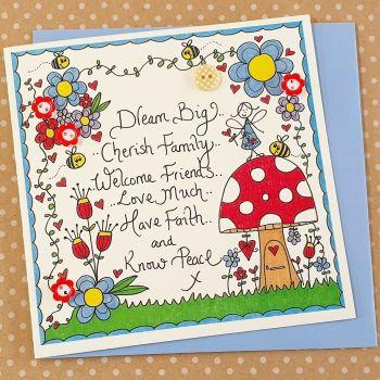 Fairy Toadstool & Bright Flowers