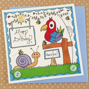 Bright Parrot and Cute Snail card