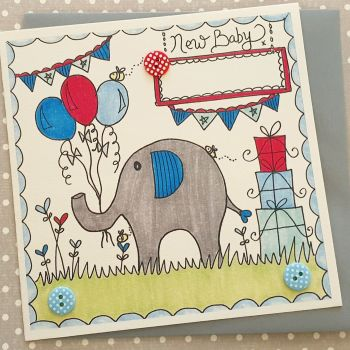 Baby Boy Elephant, balloons, bunting and buzzy bee