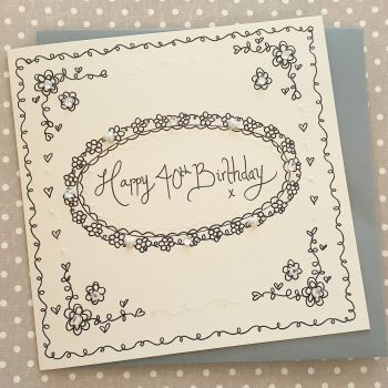 Classic Oval sparkle and diamante card