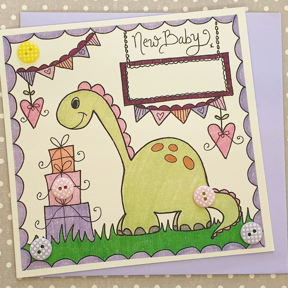 Baby Girl Dinky Dinosaur, Bunting and Presents