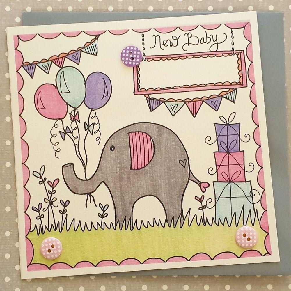 Baby Girl Elephant ,Balloons ,Bunting and Buzzy Bee