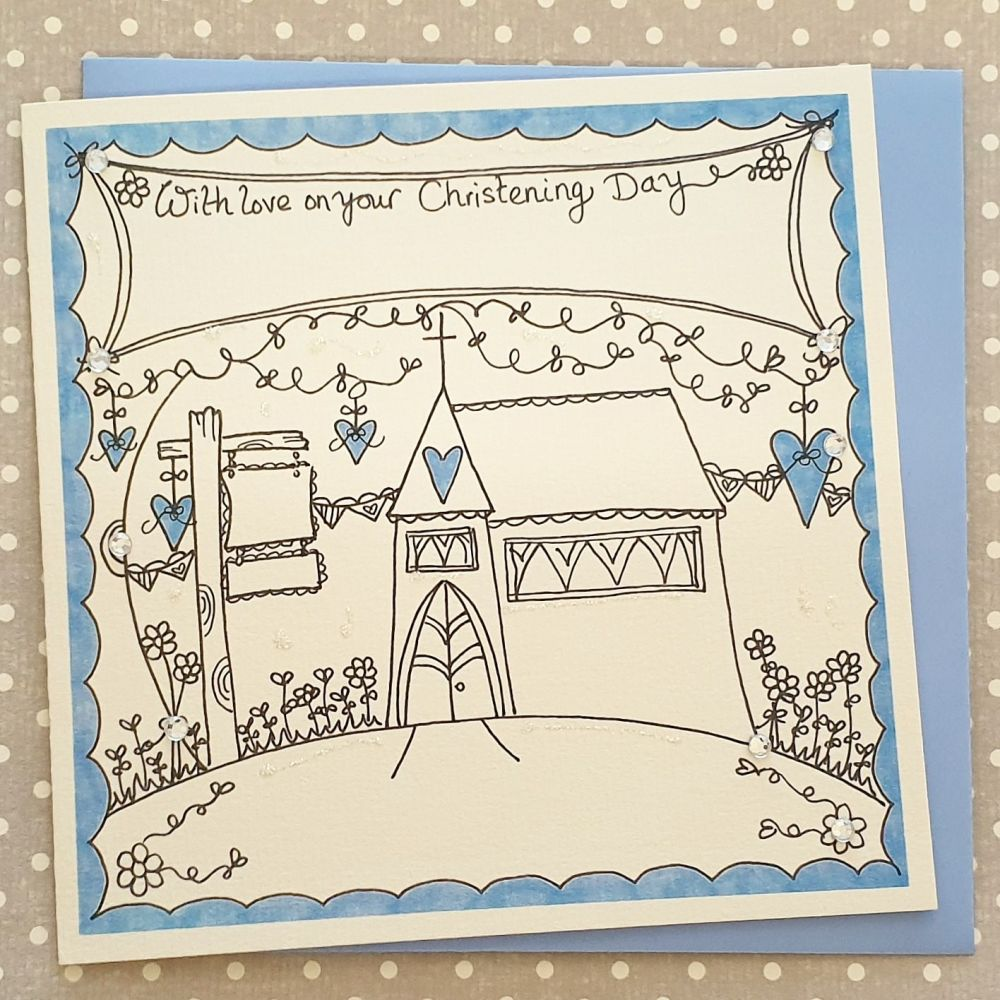 Christening Day Church card with Sparkle