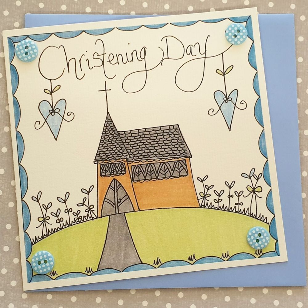 Christening Day Church card with Buttons