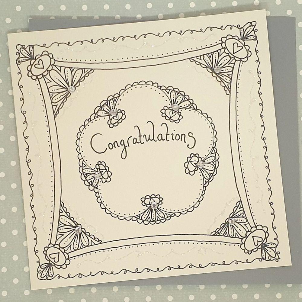 Art Deco floral style Congratulations