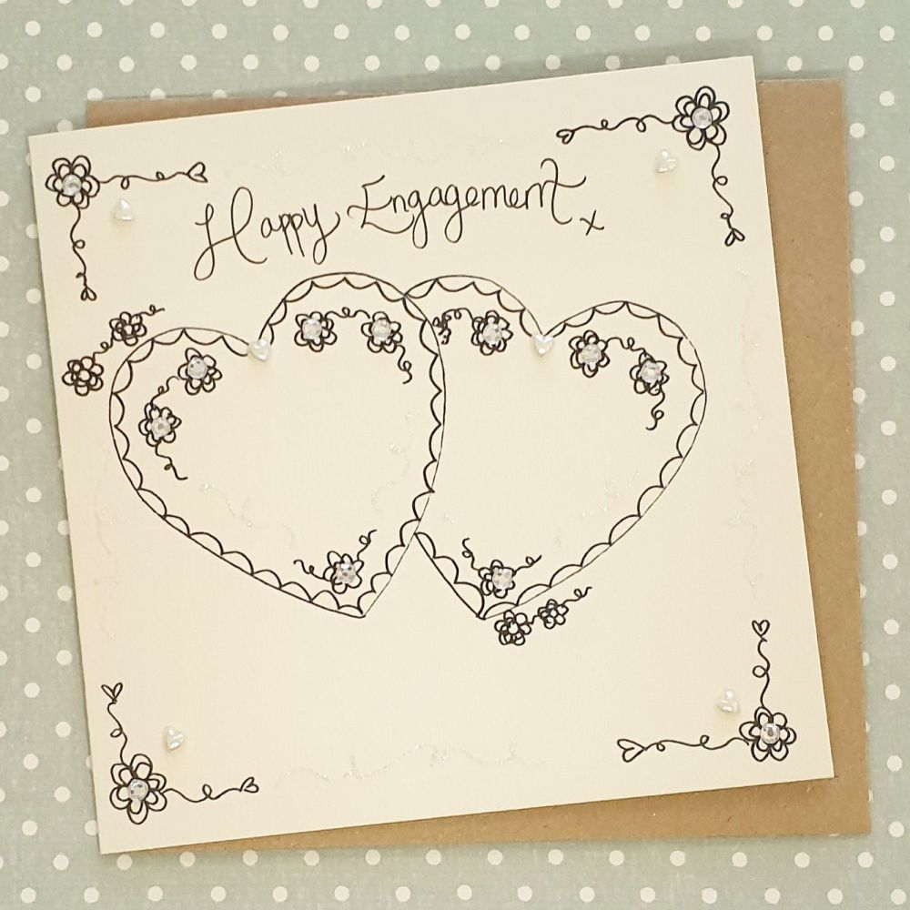 Classic Two Heart Engagement Card