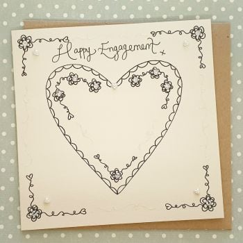 Classic single heart Engagement Card
