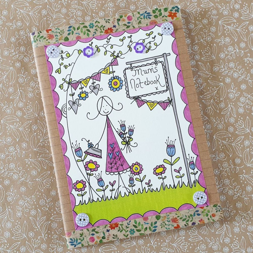Classy Lady, flowers and bunting Notebook