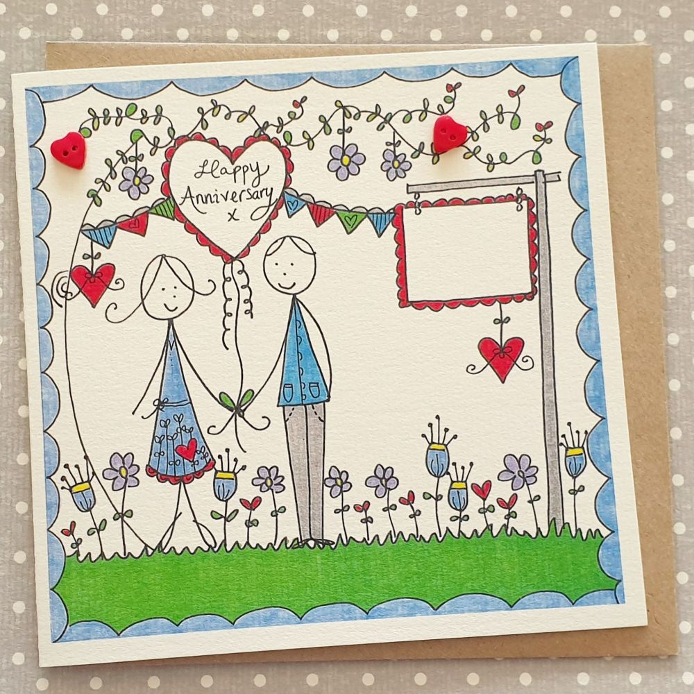 Heart Balloon, Bunting and Flowers Anniversary