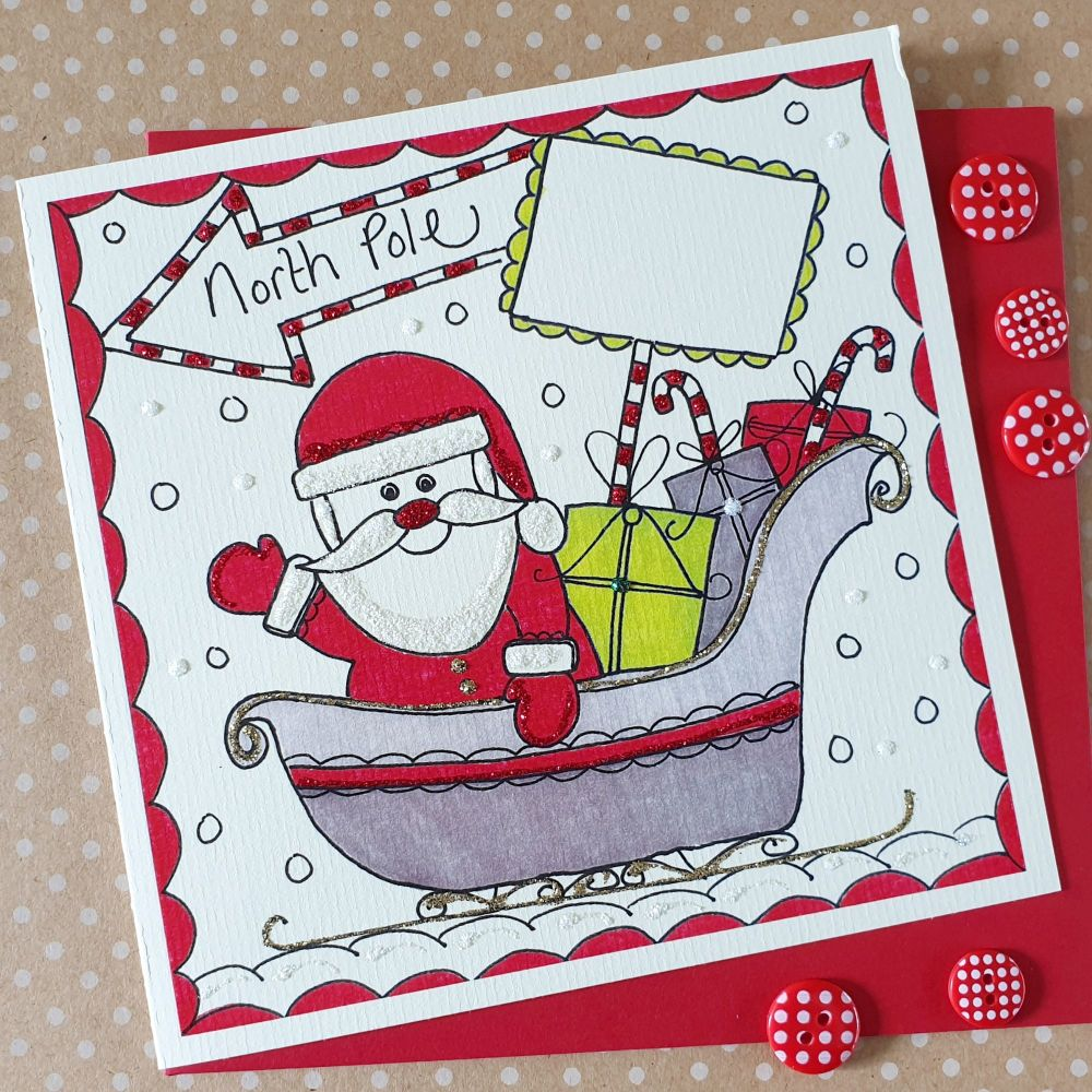 Cheerful Sparkly Santa Sleigh