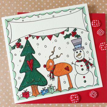 Sparkly Reindeer and Snowman Winter Wonderland