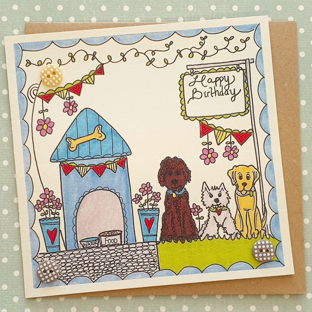 Dogs, cute blue kennel and bunting