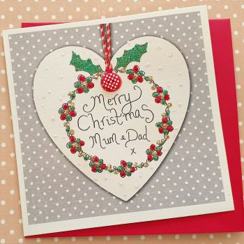 Sparkly Christmas Wreath in a Heart