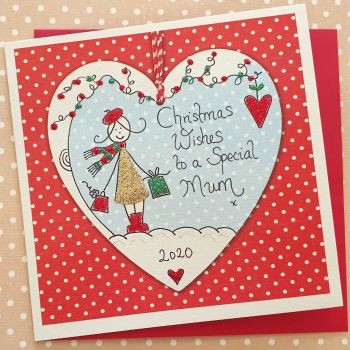 Sparkly Girl in a Christmas Heart
