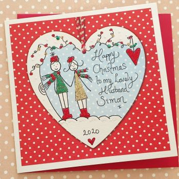 Sparkly Christmas Couple in a Heart