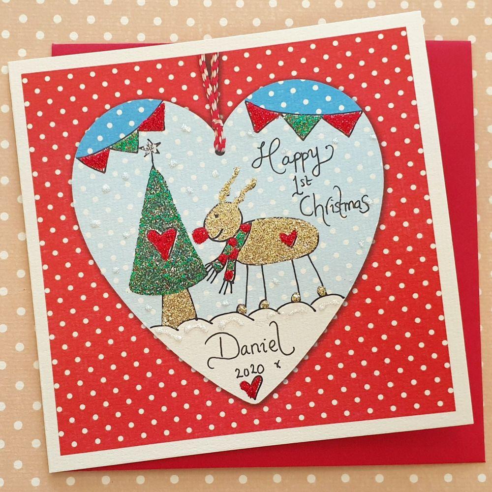 Happy 1st Christmas Reindeer Scene Boy and Girl