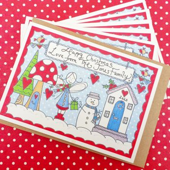 Personalised Sparkly Christmas Scene pack of 6 Cards
