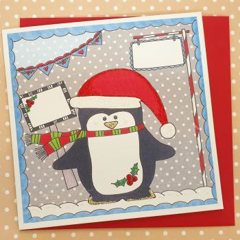 Sparkly Cheeky Penguin in a Christmas Hat