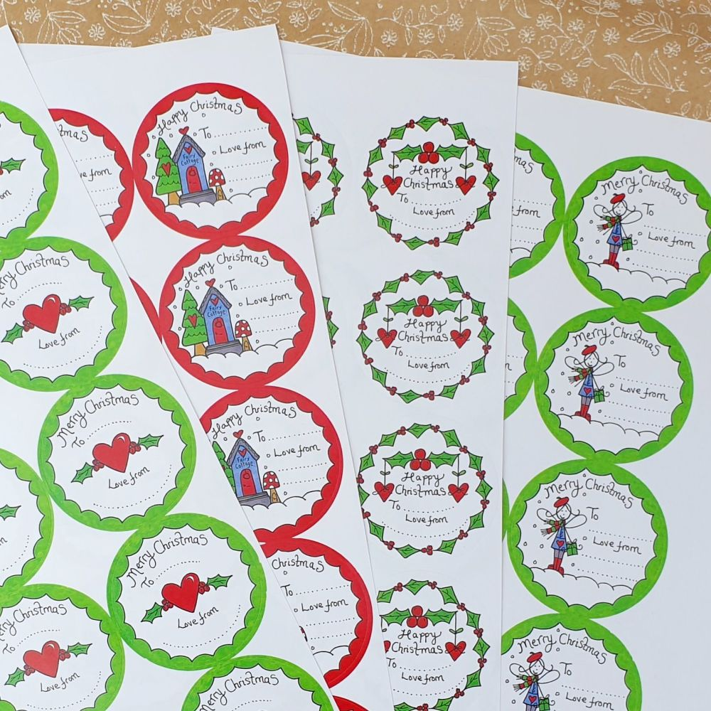 Quirky doodle Christmas stickers