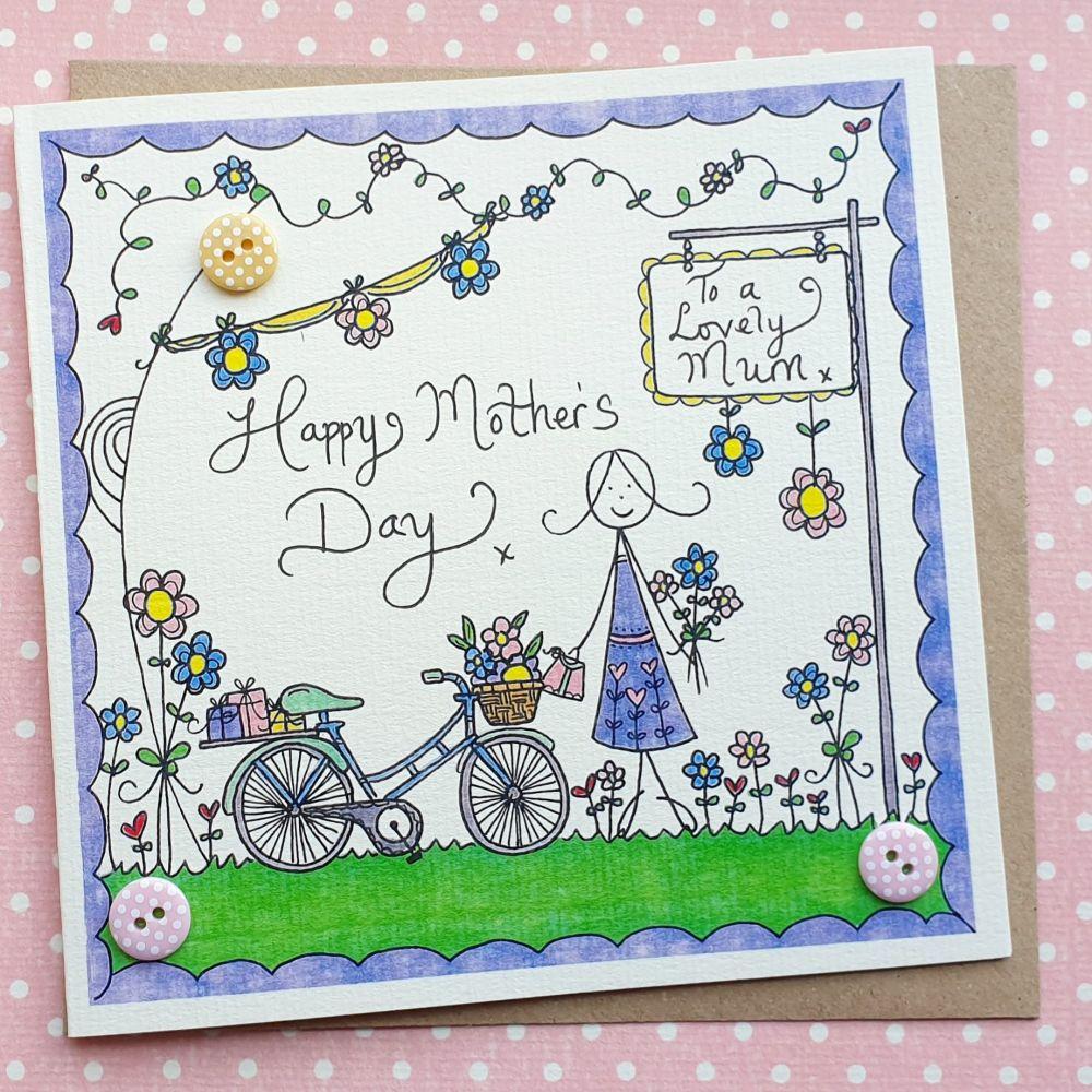Mum's Bike with Basket of Flowers