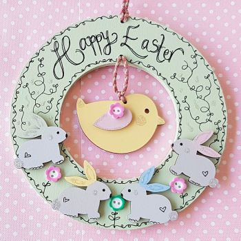 Happy Easter Wreath with Bunnies