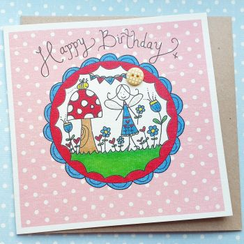 Fairy, Toadstool and Bunting in a Magic Circle