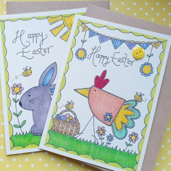 Cute Happy Easter Pack of 6 Cards