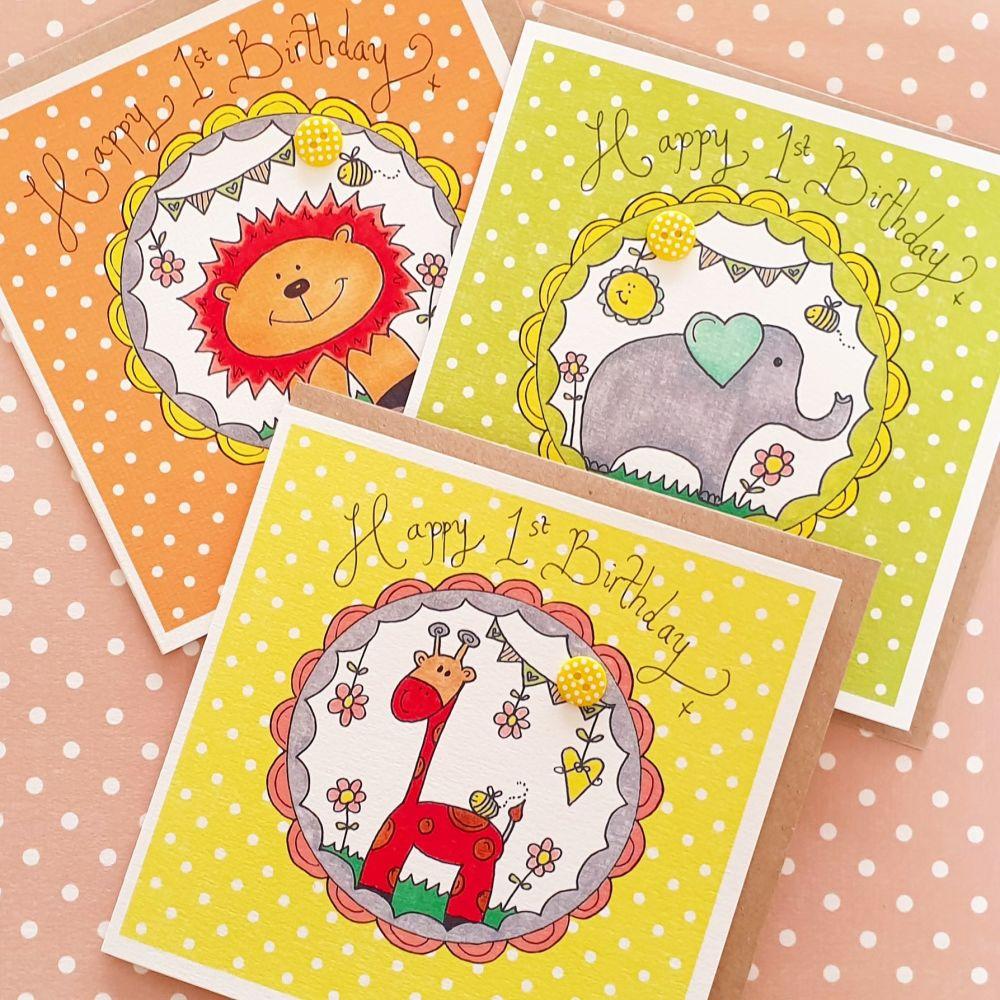Cheerful Safari 1st Birthday Card