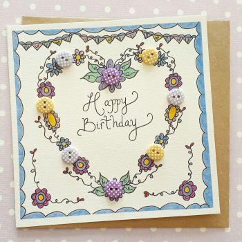 Birthday Floral Heart