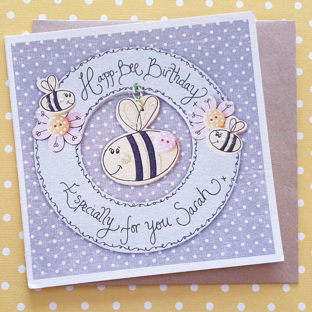 Happ-Bee Birthday Wreath Card