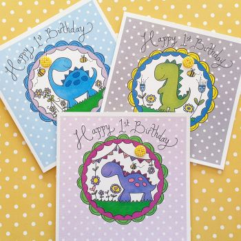 Cute Dinosaur 1st Birthday Cards