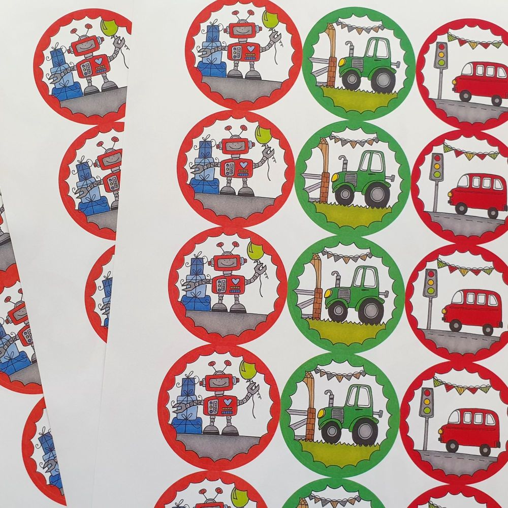 Bus, Tractor & Robot Stickers