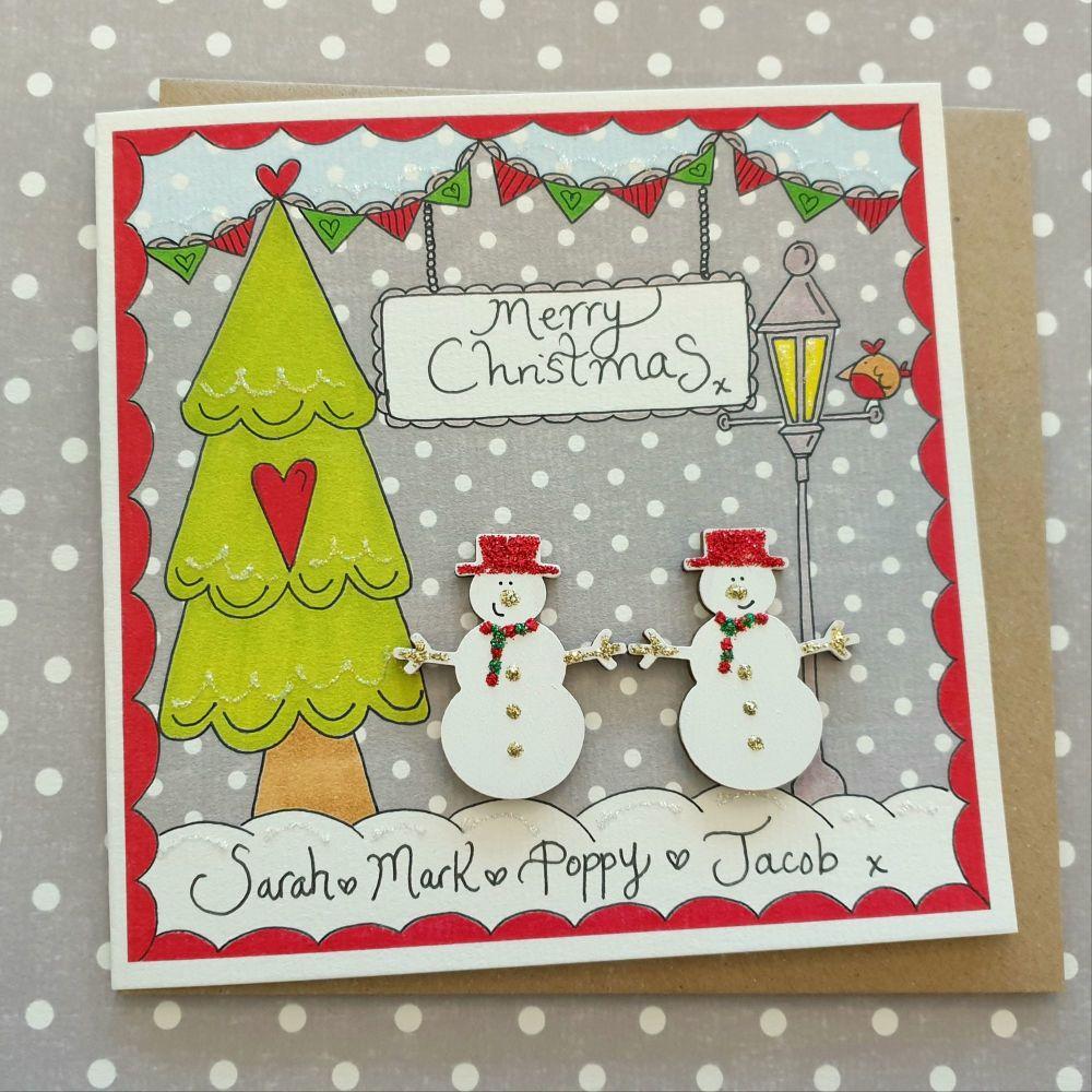 Two cute Snowmen Christmas Scene