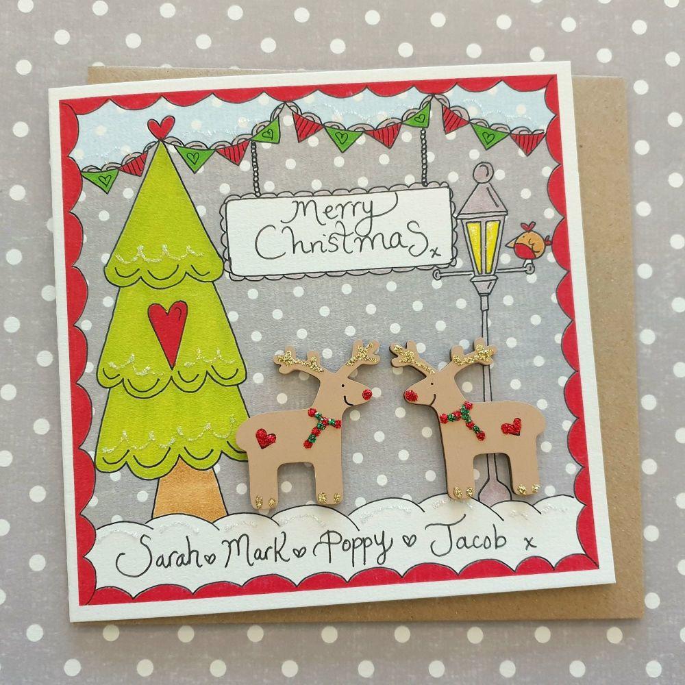Two cute Reindeer Christmas Scene