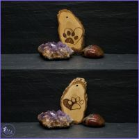 Double Sided Paw & Heart Pyrography Tree Decoration.
