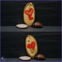 Double Sided 2 Hearts Pyrography Tree Decoration.