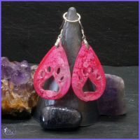 Pink Teardrop Paw Print Earrings.