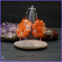 Orange Needle Felted Sterling Silver Drop Earrings.