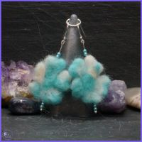 Blue Needle Felted Sterling Silver Drop Earrings.