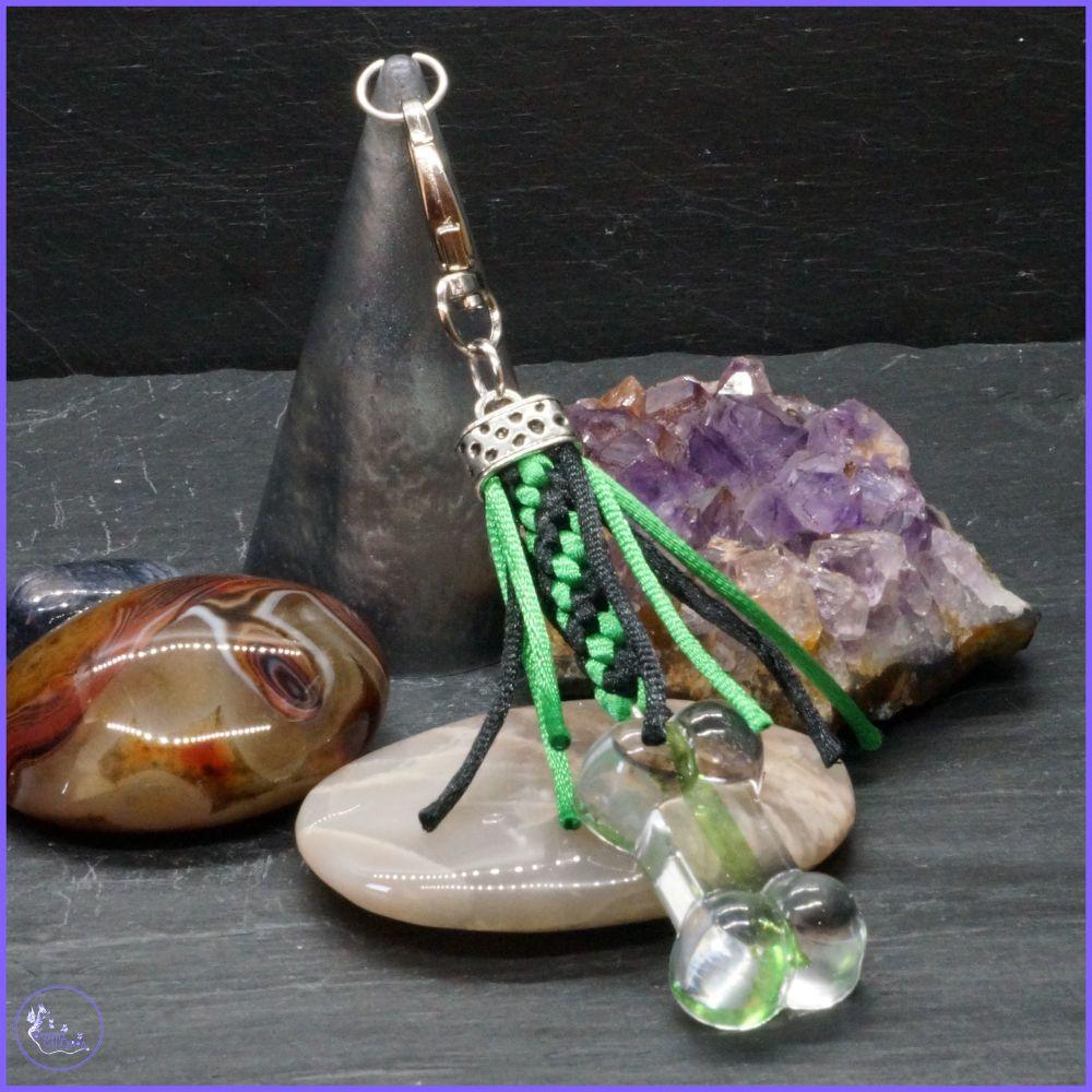 Thin Green Line Bone Keyring or Bag Charm.