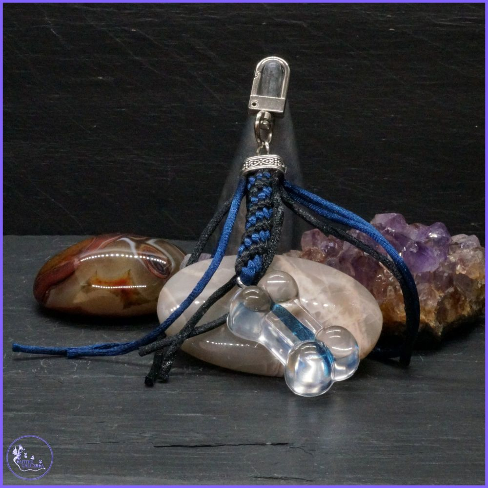 Thin Blue Line Bone Keyring or Bag Charm.